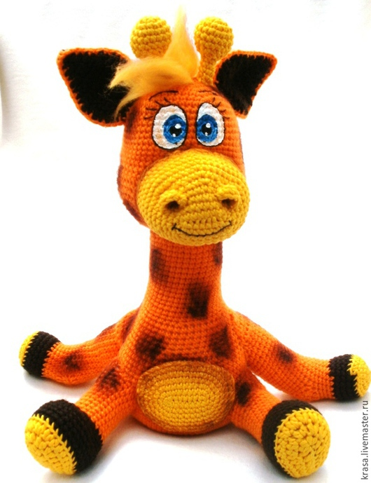 Игрушки животные, ручной работы. Ярмарка Мастеров - ручная работа. Купить Вязаный жирафик Мартин. Handmade. Оранжевый, хлопок мерсеризованный
