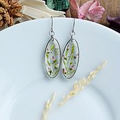 handmade. Livemaster - original item Earrings with real flowers. delicate earrings.. Handmade.