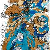 Картины и панно ручной работы. Ярмарка Мастеров - ручная работа Морской пейзаж-серия Турецкие сно-видения графика. Handmade.