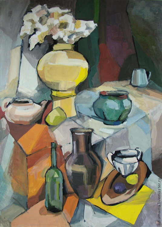 Still life with jug and yellow vase