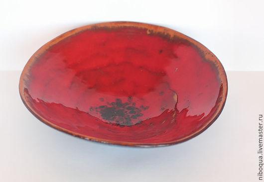 Тарелки ручной работы. Ярмарка Мастеров - ручная работа. Купить Тарелка керамическая Красный мак - 4. Handmade. Ярко-красный
