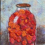 Картины и панно ручной работы. Ярмарка Мастеров - ручная работа Панно, войлок Сливовый компот. Handmade.