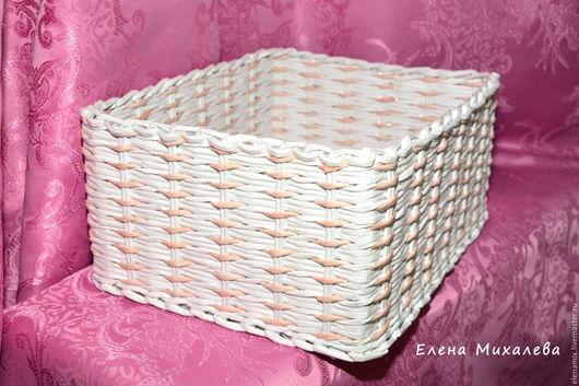 """Корзины, коробы ручной работы. Ярмарка Мастеров - ручная работа. Купить Короб """"Нежность"""". Handmade. Белый, плетение из бумажной лозы"""