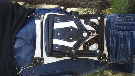 Мужские сумки ручной работы. Ярмарка Мастеров - ручная работа. Купить Набедренная сумка №2. Handmade. Чёрно-белый, байк