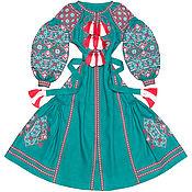"""Одежда handmade. Livemaster - original item Бирюзовое платье с клиньями """"Весна-Красна"""". Handmade."""