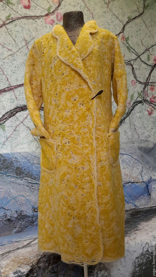 """Кофты и свитера ручной работы. Ярмарка Мастеров - ручная работа. Купить Пальто - кардиган """"Горчица букле"""", ручная работа. Handmade."""