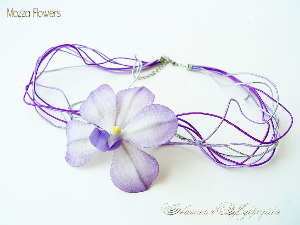 Pendant `Orchid Vanda`. Flowers from polymer clay.