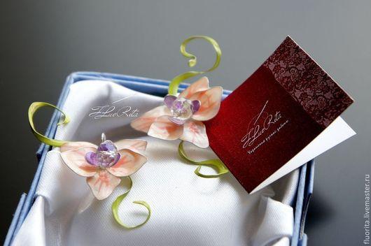 """Серьги ручной работы. Ярмарка Мастеров - ручная работа. Купить Авторские серьги с НУЛЯ """"Орхидея"""", стекловидные, серебряные швензы.. Handmade."""