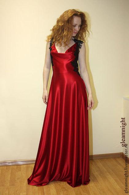Платья ручной работы. Ярмарка Мастеров - ручная работа. Купить Красное вечернее платье в пол. Handmade. Ярко-красный