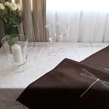 Для дома и интерьера ручной работы. Ярмарка Мастеров - ручная работа Дорожка льняная в скандинавском стиле шоколадная. Handmade.