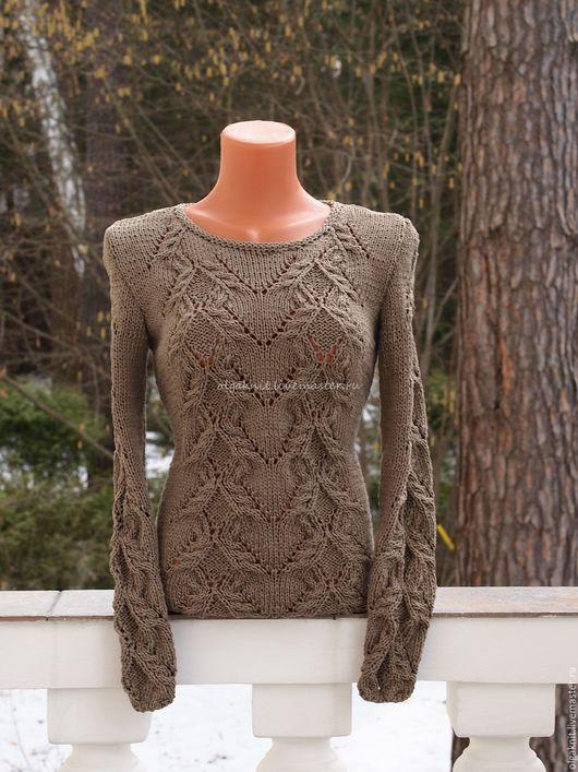 Кофты и свитера ручной работы. Ярмарка Мастеров - ручная работа. Купить Оливковый пуловер из хлопка. Handmade. Оливковый, пуловер вязаный