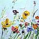Голубая картина лето весна разноцветные цветы в бирюзовую кухню на заказ маслом. художник Марина Маткина Пермь