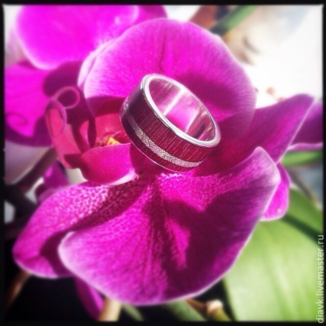 Lilac wind, silver ring with wood, wooden ring, Rings, Odessa,  Фото №1