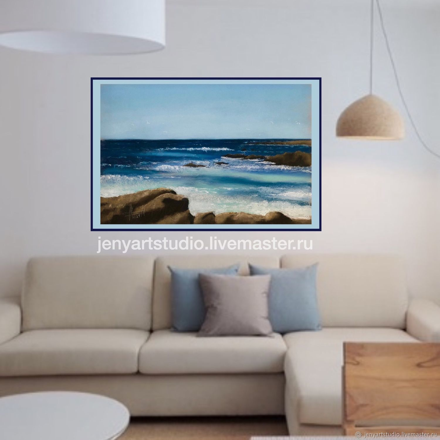 Painting in the interior 'Sea breeze' seascape pastel blue color, Pictures, Kolomna,  Фото №1
