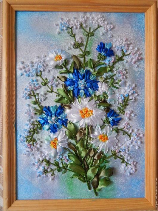 Картины цветов ручной работы. Ярмарка Мастеров - ручная работа. Купить Картина ручной работы - вышивка лентами.. Handmade. Разноцветный