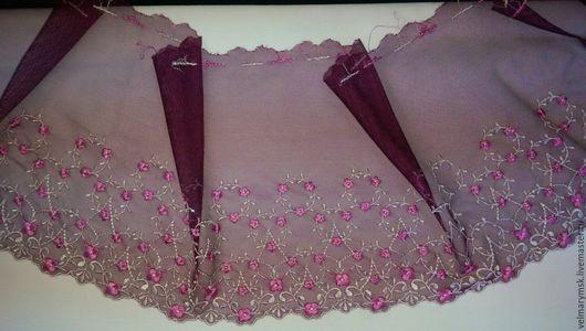 Аппликации, вставки, отделка ручной работы. Ярмарка Мастеров - ручная работа. Купить Вышивка на сетке  Mil-23 бордо/бело розовый. Handmade.