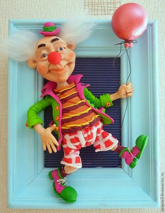 """Коллекционные куклы ручной работы. Ярмарка Мастеров - ручная работа. Купить Кукла в раме """" Клоун"""". Handmade. Голубой"""
