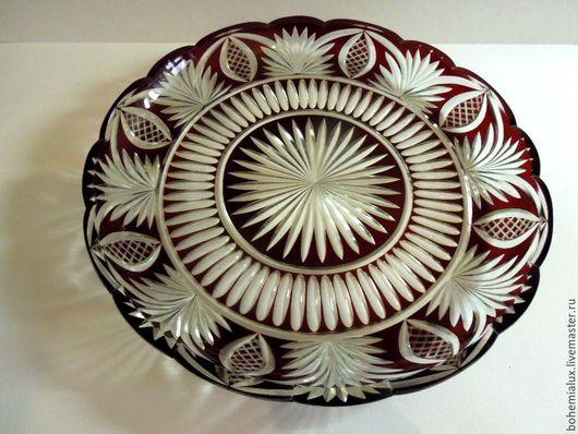Винтажная посуда. Ярмарка Мастеров - ручная работа. Купить Блюдо, поднос, цветной хрусталь. Довоенное диаметр 35 см.. Handmade.