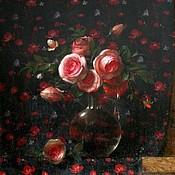Цветы и флористика ручной работы. Ярмарка Мастеров - ручная работа Розочки на кубовом фоне. Handmade.