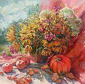 Картины и панно ручной работы. Ярмарка Мастеров - ручная работа картина Райские яблочки масло холст 55см/60см. Handmade.