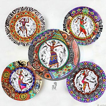 """Посуда ручной работы. Ярмарка Мастеров - ручная работа """"Африканский танец"""" набор из 5 тарелок на стену. Handmade."""