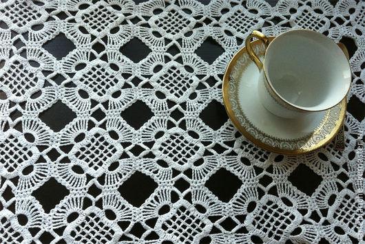 Текстиль, ковры ручной работы. Ярмарка Мастеров - ручная работа. Купить Прямоугольная скатерть (салфетка). Handmade. Белый, прямоугольная салфетка