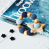 Одежда handmade. Livemaster - original item Teether - the first toy dark blue, light blue star. Handmade.
