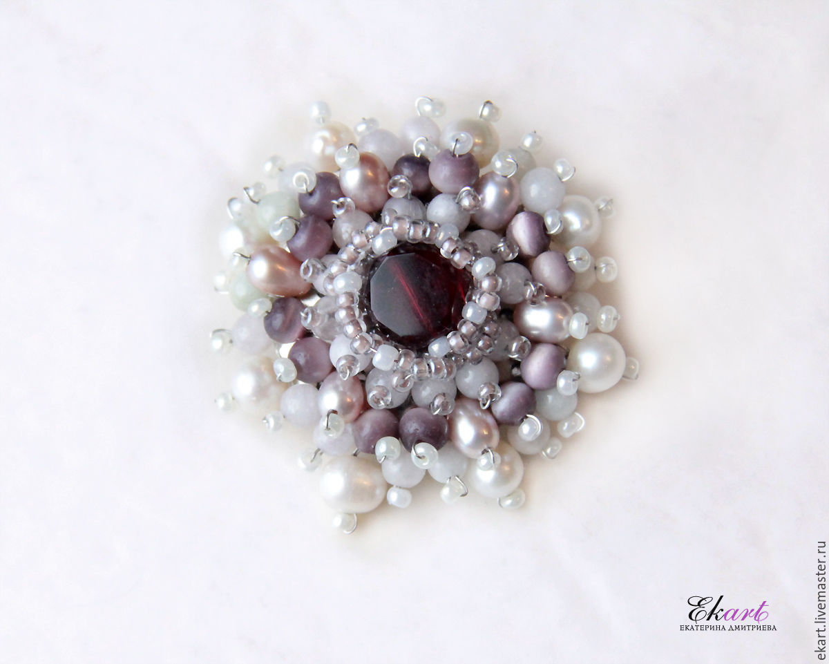 Brooch 'Music of spring' pearls, beryl, cat's eye, Brooches, Moscow,  Фото №1