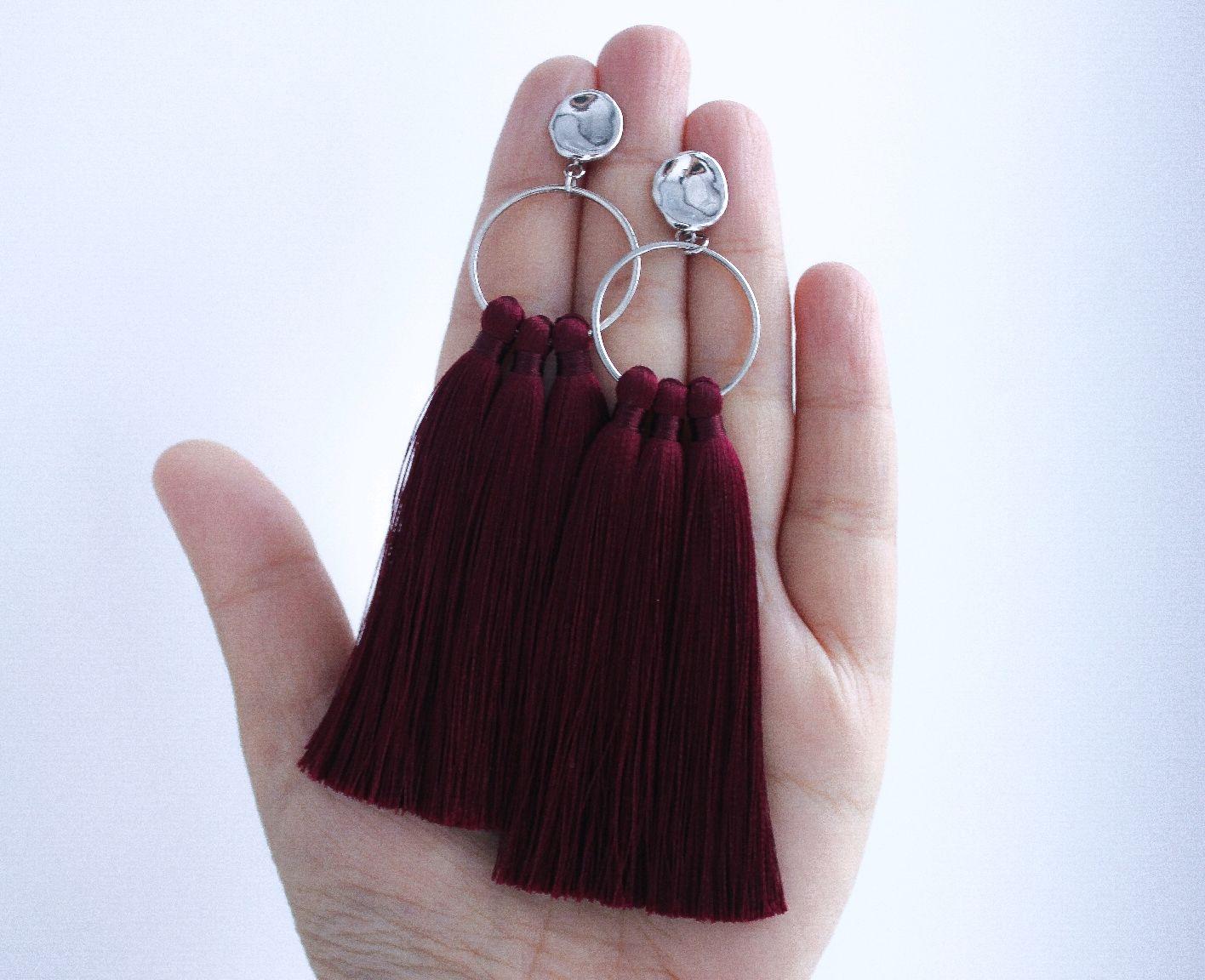 Burgungy tassel earrings, Tassel earrings, Ufa,  Фото №1