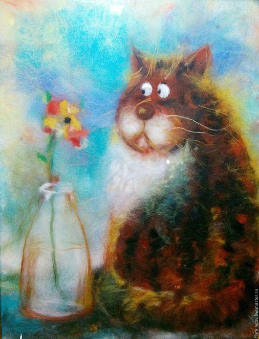 Животные ручной работы. Ярмарка Мастеров - ручная работа. Купить Без кота и жизнь не та))! Картина из шерсти. Handmade. Рыжий