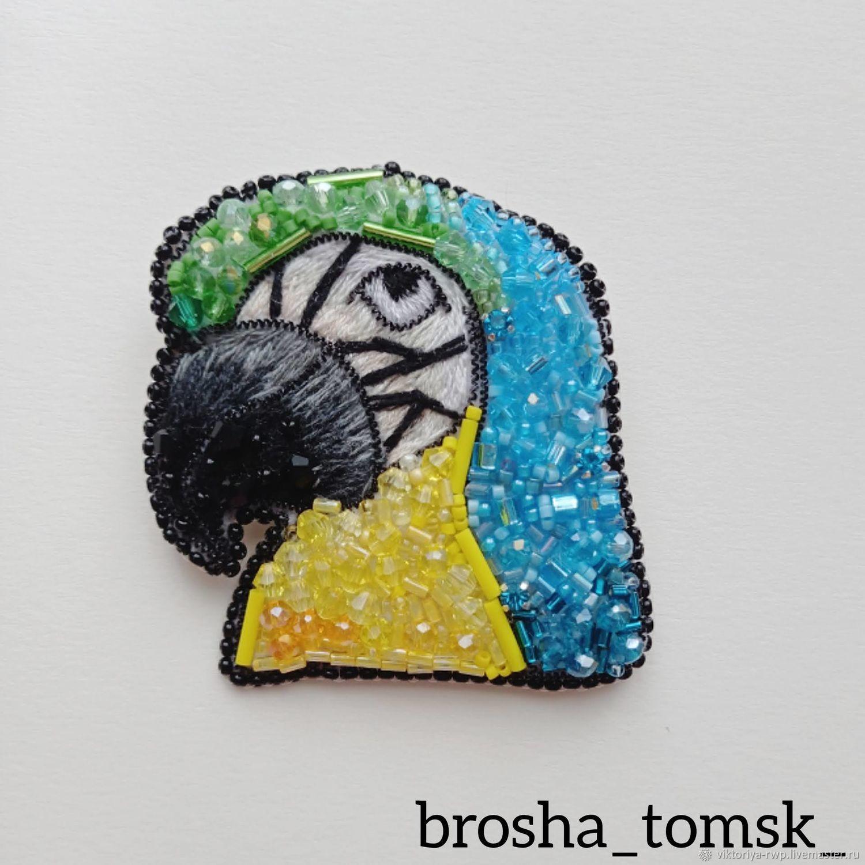 Брошь из бисера ручной работы Попугай, Брошь-булавка, Томск,  Фото №1