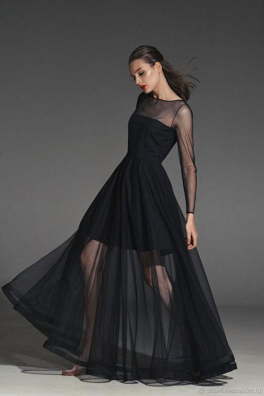 Платья ручной работы. Ярмарка Мастеров - ручная работа. Купить Платье сетка черное прозрачное. Handmade. Платье на вечер