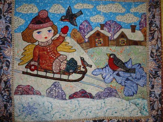 """Фэнтези ручной работы. Ярмарка Мастеров - ручная работа. Купить Панно """"Зимний ангел"""". Handmade. Панно, снегири, ткань хлопок"""