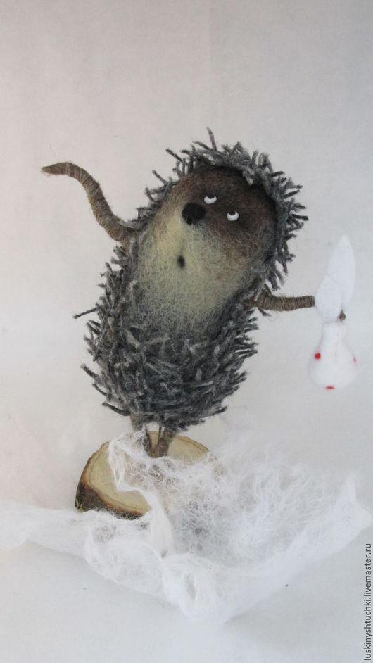 Сказочные персонажи ручной работы. Ярмарка Мастеров - ручная работа. Купить Ежик в тумане. Handmade. Еж, игрушка из шерсти, коричневый