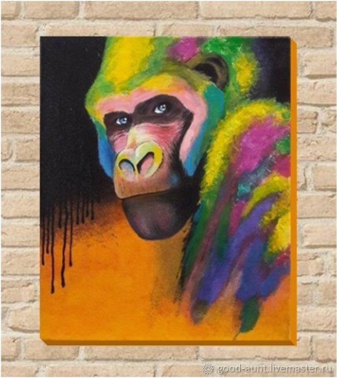 Картина ручной работы Горилла радужная Африканские мотивы 40 на 60