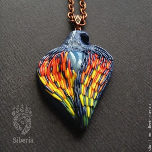 """Кулоны, подвески ручной работы. Ярмарка Мастеров - ручная работа. Купить Кулон """"Dove"""". Handmade. Тёмно-синий, голубь, крылья"""