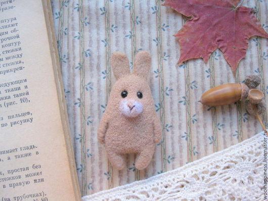 Броши ручной работы. Ярмарка Мастеров - ручная работа. Купить Кролик №14 Брошь. Handmade. Бежевый, заяц