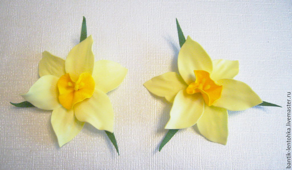 Children's Jewelry handmade. Livemaster - handmade. Buy A set of rubber bands(Bobby pins) hair 'Daffodils'.White, fom