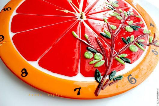 Часы для дома ручной работы. Ярмарка Мастеров - ручная работа. Купить часы из стекла, фьюзинг   Апельсинчик. Handmade. Рыжий, часы