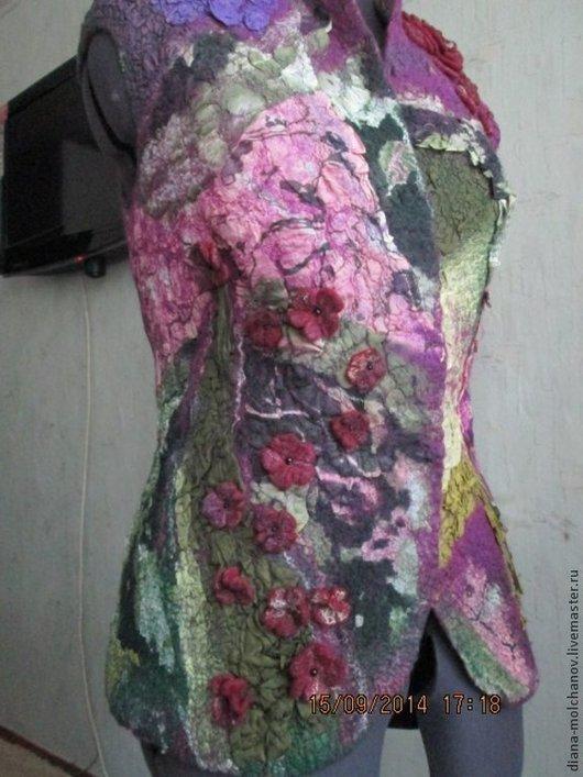 Пиджаки, жакеты ручной работы. Ярмарка Мастеров - ручная работа. Купить Сиреневый жилет. Handmade. Тёмно-фиолетовый, одежда валяная