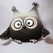 Для дома и интерьера ручной работы. Ярмарка Мастеров - ручная работа Сова-подушка кофейная средняя. Handmade.