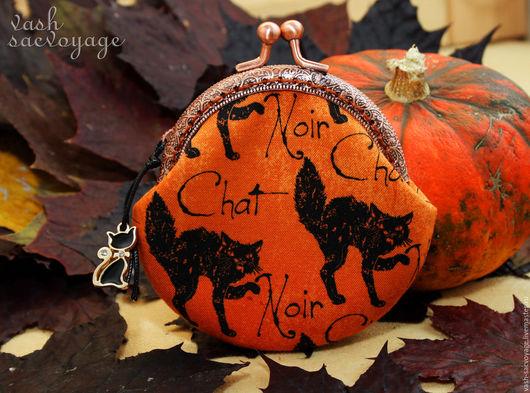 Кошельки и визитницы ручной работы. Ярмарка Мастеров - ручная работа. Купить Кошелек с фермуаром для мелочи Хэллоуин Черные котики. Handmade.