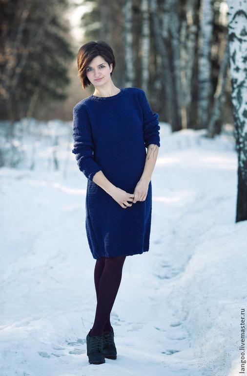 Платья ручной работы. Ярмарка Мастеров - ручная работа. Купить Платье тёплое, тёмно-синее. Handmade. Тёмно-синий, платье