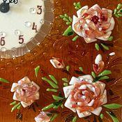 """Для дома и интерьера ручной работы. Ярмарка Мастеров - ручная работа Часы """"Чайные розы""""   фьюзинг. Handmade."""