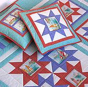 Для дома и интерьера ручной работы. Ярмарка Мастеров - ручная работа Лоскутное одеяло Морские звезды. Handmade.