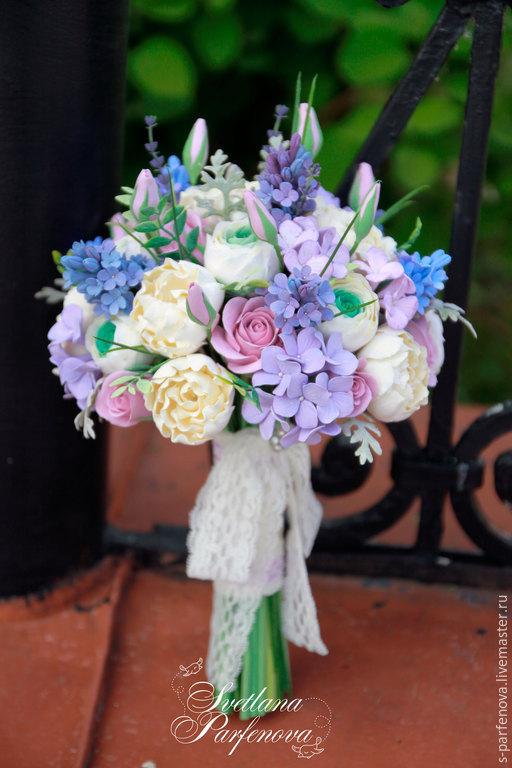 Свадебные цветы ручной работы. Ярмарка Мастеров - ручная работа. Купить Букет невесты Нежная сирень. Handmade. Сиреневый