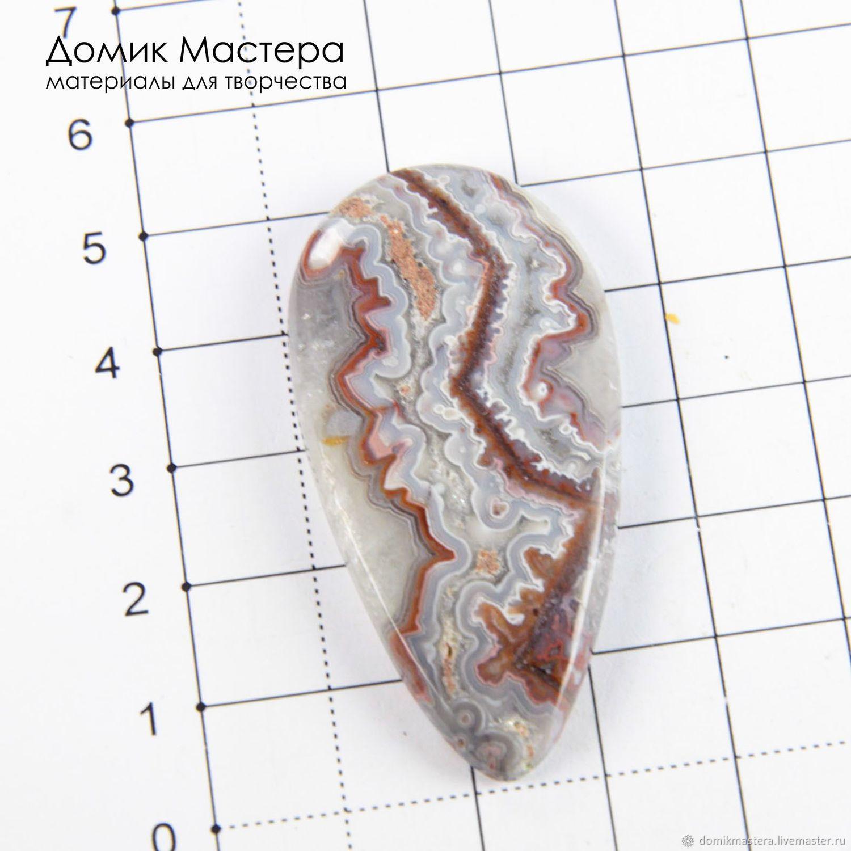 K-K-001664 - агат кружевной, кабошон, натуральный камень, Мексика, 52х26х5мм - 1400р.