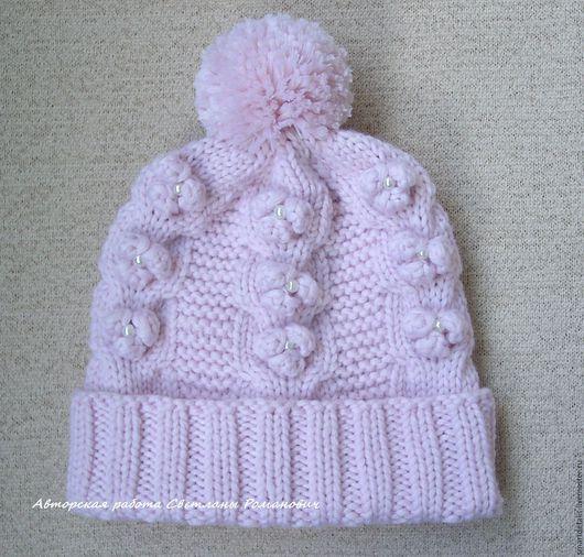 Шапки и шарфы ручной работы. Ярмарка Мастеров - ручная работа. Купить Мериносовая шапочка для девочки. Handmade. Бледно-розовый, шапочки