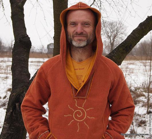 """Кофты и свитера ручной работы. Ярмарка Мастеров - ручная работа. Купить Толстовка с капюшоном """"Красно солнышко"""". Handmade. Рыжий"""