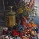 Натюрморт ручной работы. Ярмарка Мастеров - ручная работа. Купить Самовар и печка. Handmade. Натюрморт, ягоды, булочки, холст